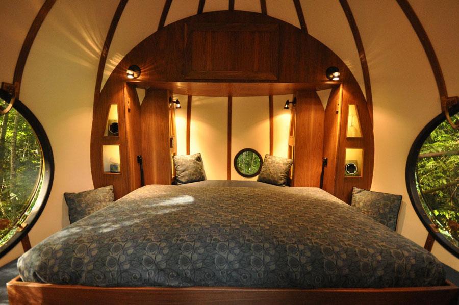 Foto dell'interno dell'hotel Free Spirit Spheres in Canada