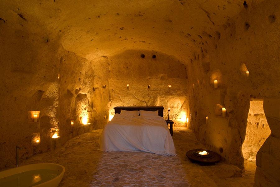 Foto dell'interno dell'hotel Sextantio Le Grotte Della Civita a Matera