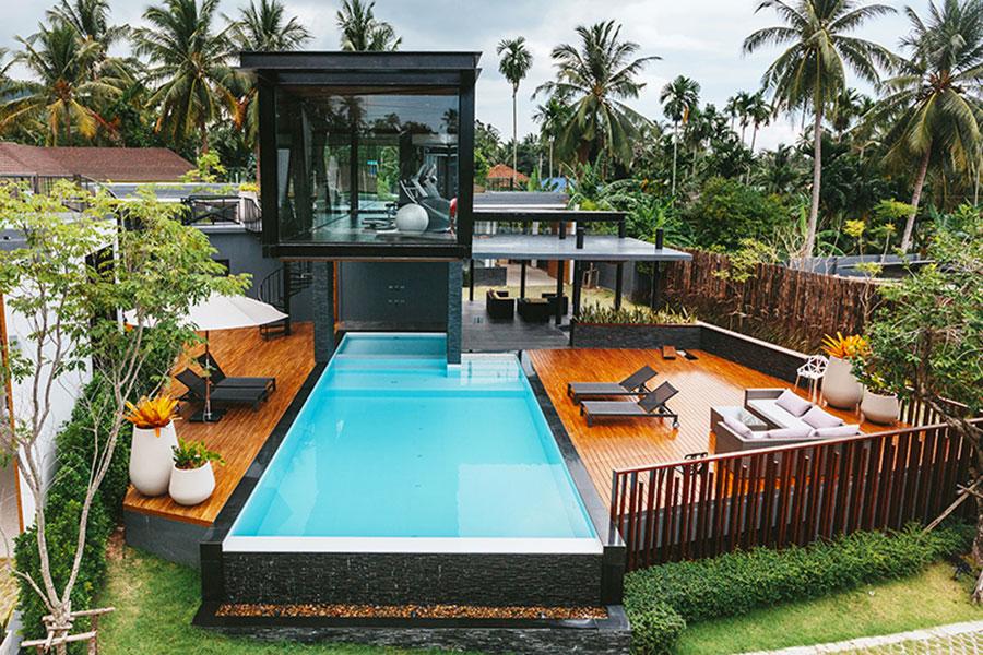 Modello di piscina moderna fuori terra n.04