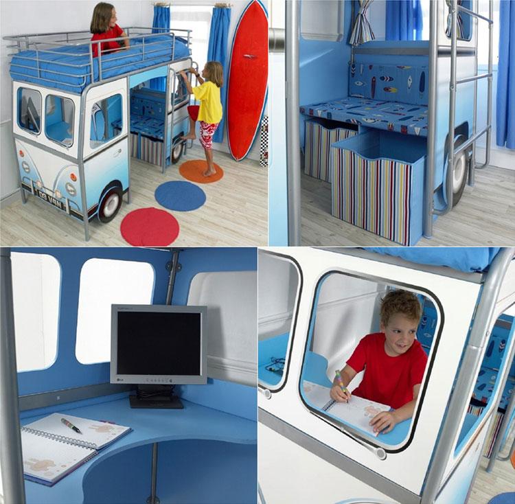 Letto a forma di autobus per bambini