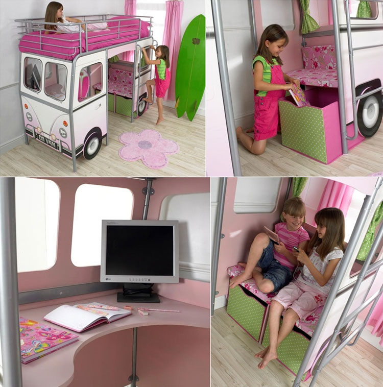 Letto a forma di autobus per bambine