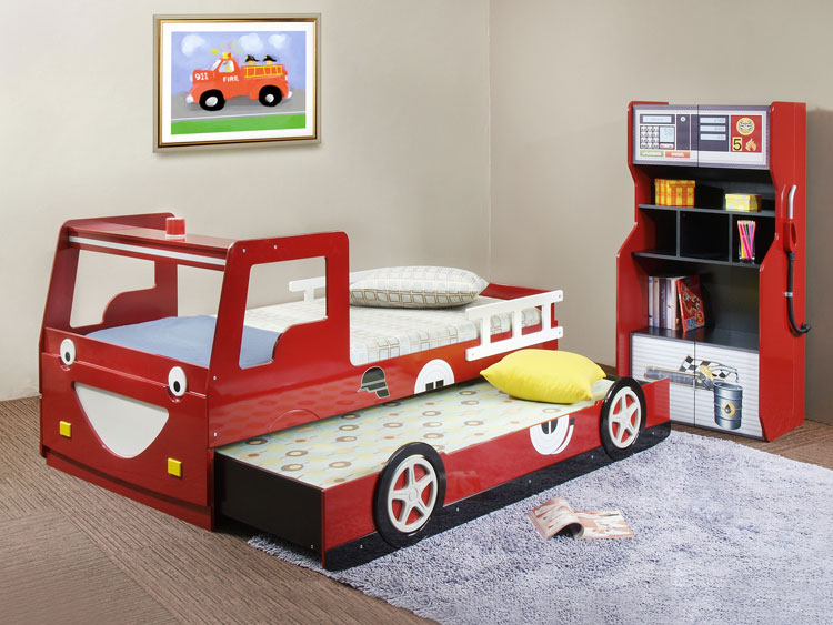 Letto per bambini a forma di camion dei pompieri n.45