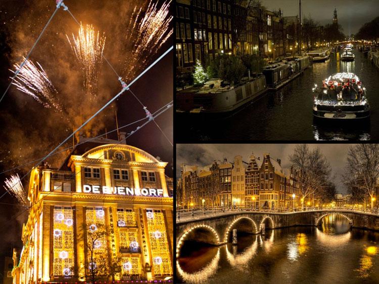 Foto delle luci natalizie di Amsterdam