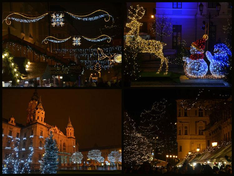 Foto delle luci natalizie di Gyor in Ungheria