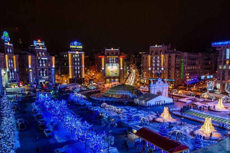 Foto delle luci natalizie a Kiev