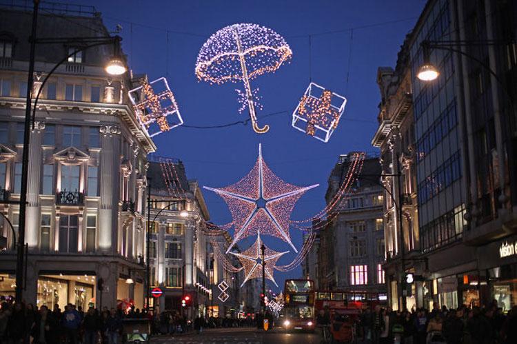 Foto delle luci natalizie di Londra
