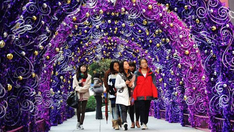 Foto delle luci natalizie di Pechino