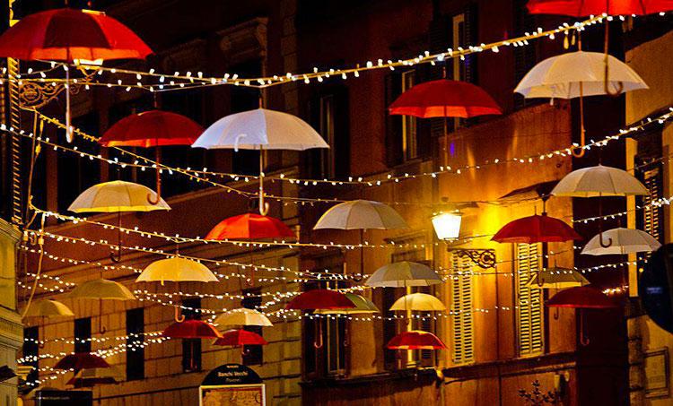 Foto delle luci natalizie di Roma