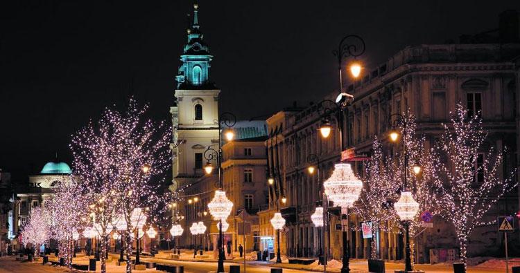 Foto delle luci natalizie di Varsavia