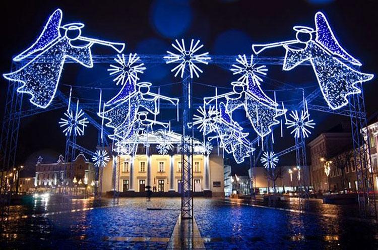 Foto delle luci natalizie di Vilnius in Lituania