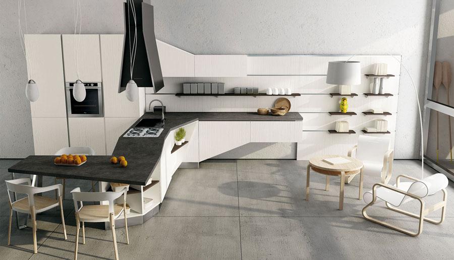Modello di cucina moderna con penisola n.01