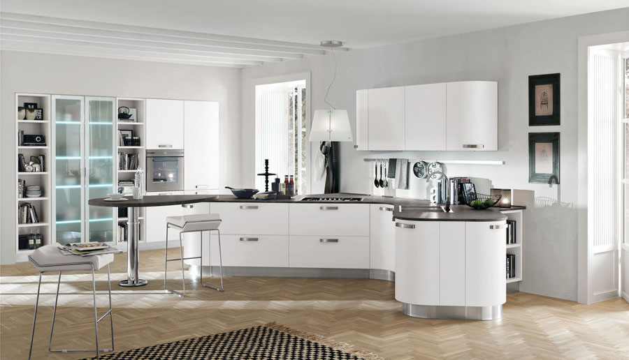 Modello di cucina moderna con penisola n.03