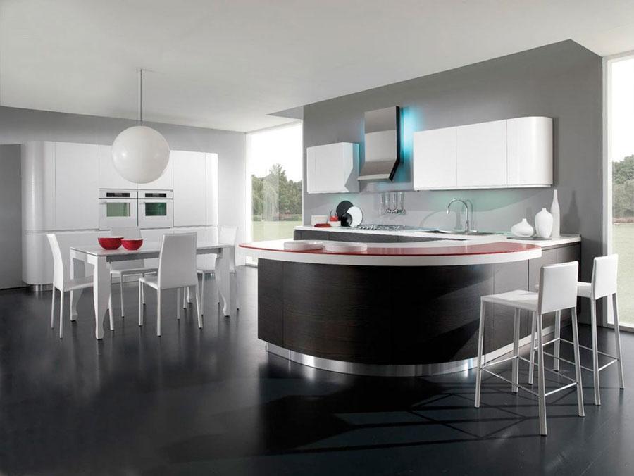 Cucina moderna bianca con parquet interior design
