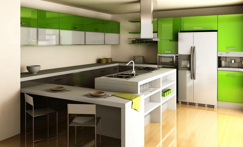 Modello di cucina moderna con penisola n.12