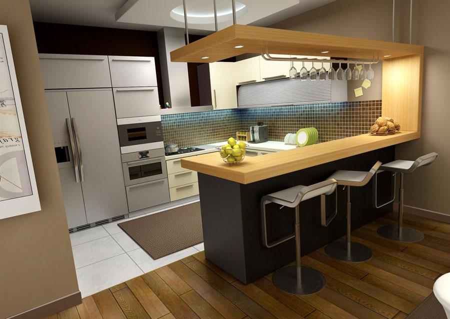 Modello di cucina moderna con penisola n.19