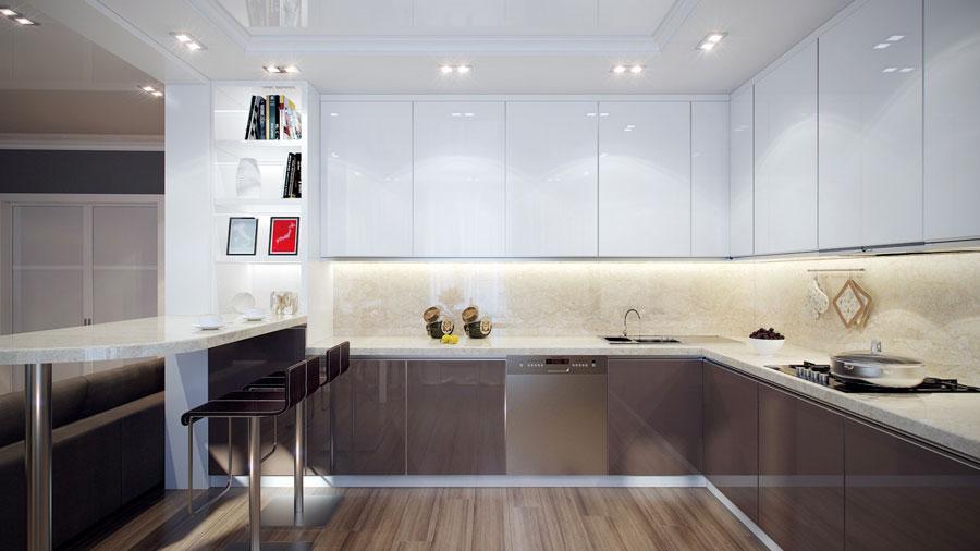 Modello di cucina moderna con penisola n.20