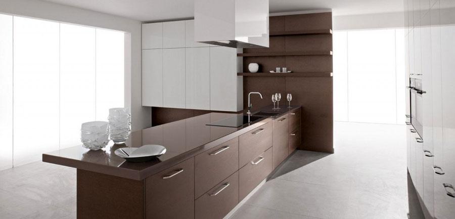 Modello di cucina moderna con penisola n.34