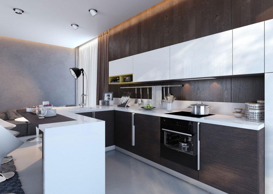 Modello di cucina moderna con penisola n.35