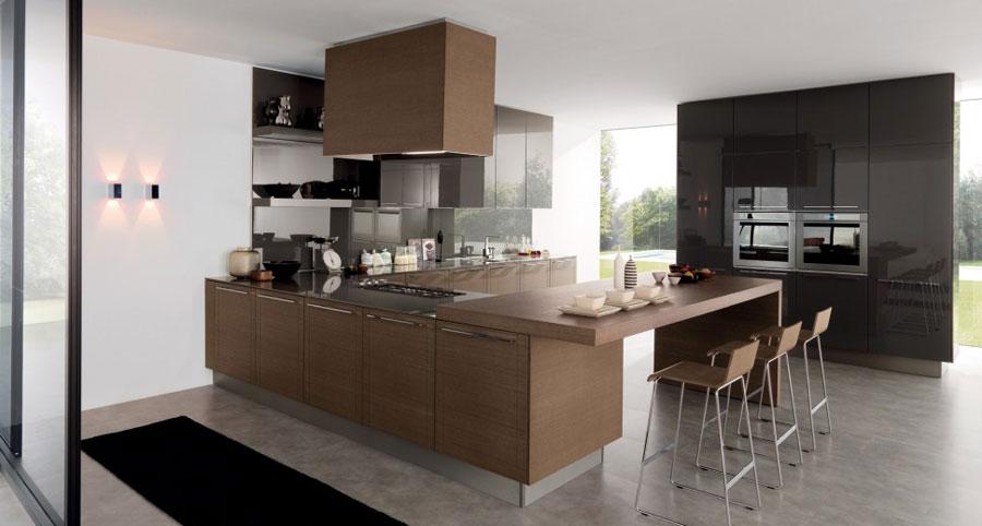 Modello di cucina moderna con penisola n.42