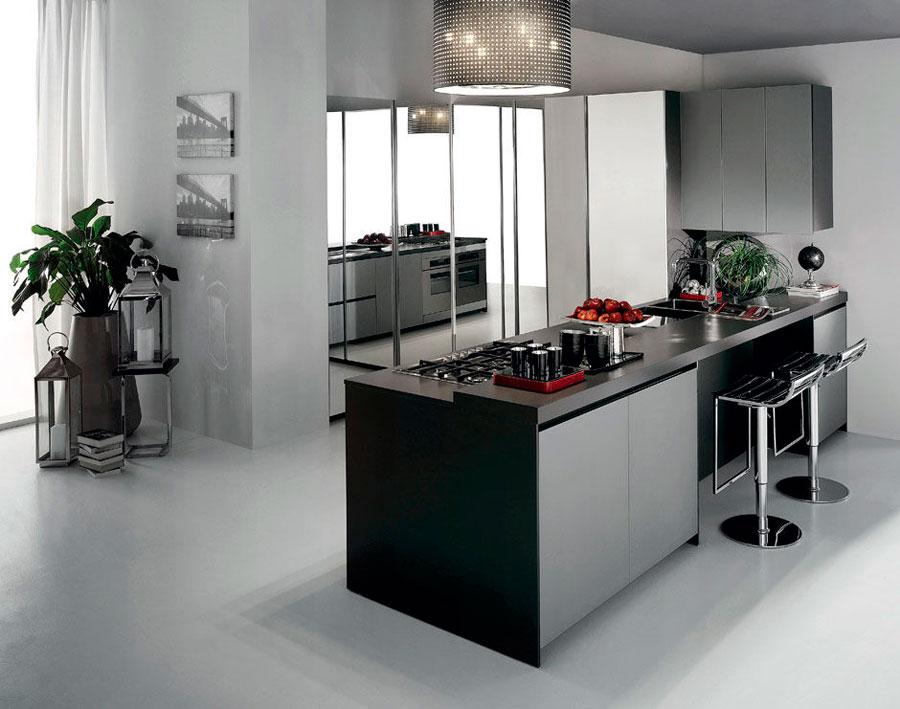 Modello di cucina moderna con penisola n.43