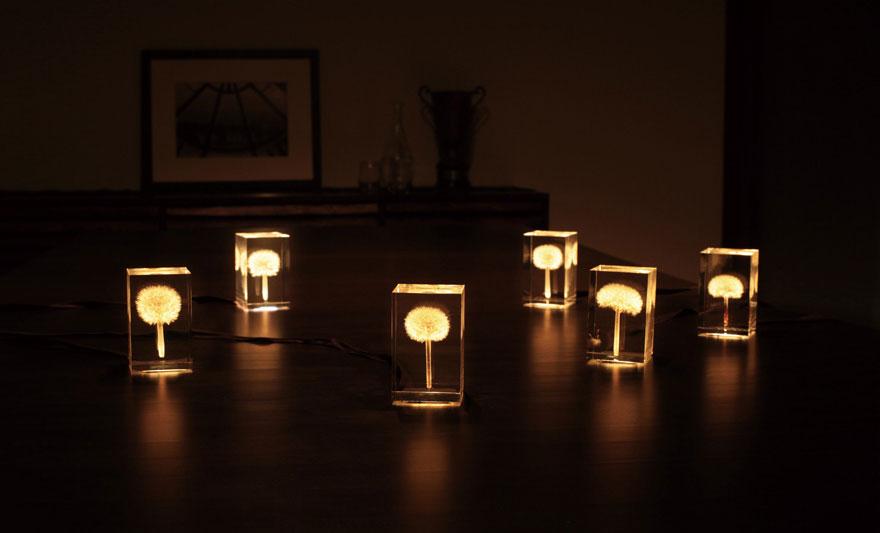Foto delle lampade con i soffioni accese n.02