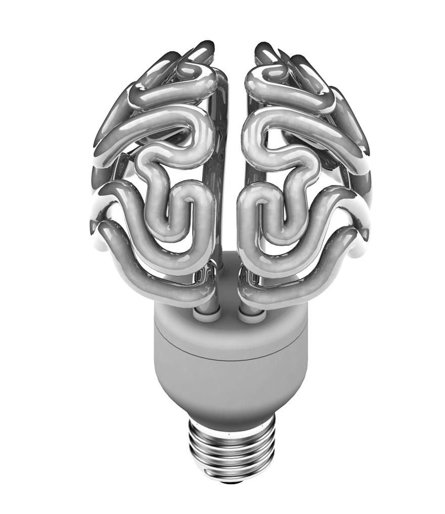 Foto della lampadina a forma di cervello spenta