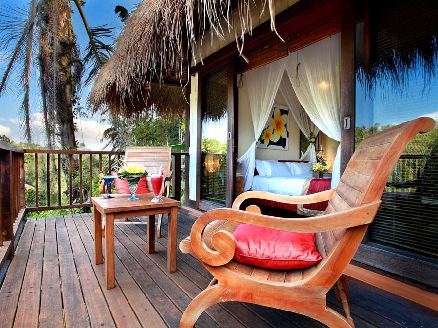 Particolare del terrazzo dell'hotel Nandini a Bali