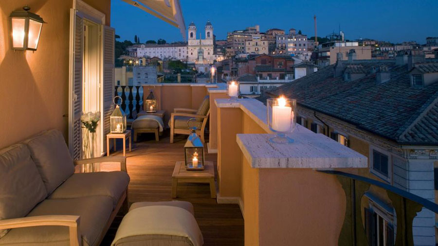 Dettaglio della vista dell'hotel di lusso Portrait Roma