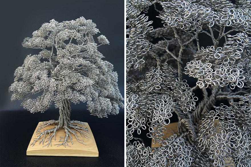 Scultura bonsai con filo di ferro