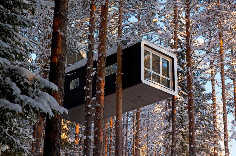 Foto di una camera del Treehotel in Svezia