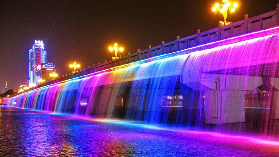 Foto della fontana moderna Banpo Bridge Han River in Korea