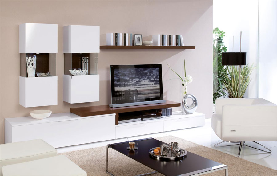 Pareti attrezzate moderne 70 idee di design per arredare for Muebles para tv estrechos