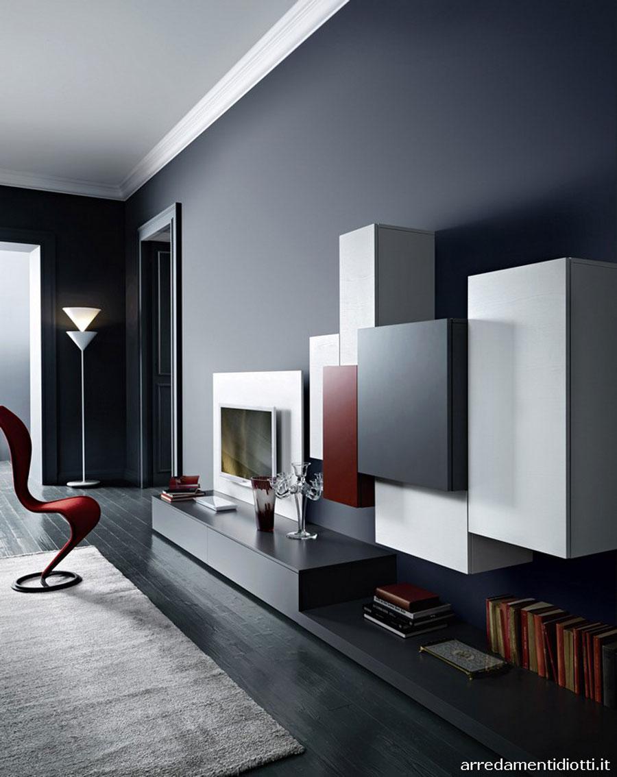 Pareti attrezzate moderne 70 idee di design per arredare for Pareti salone