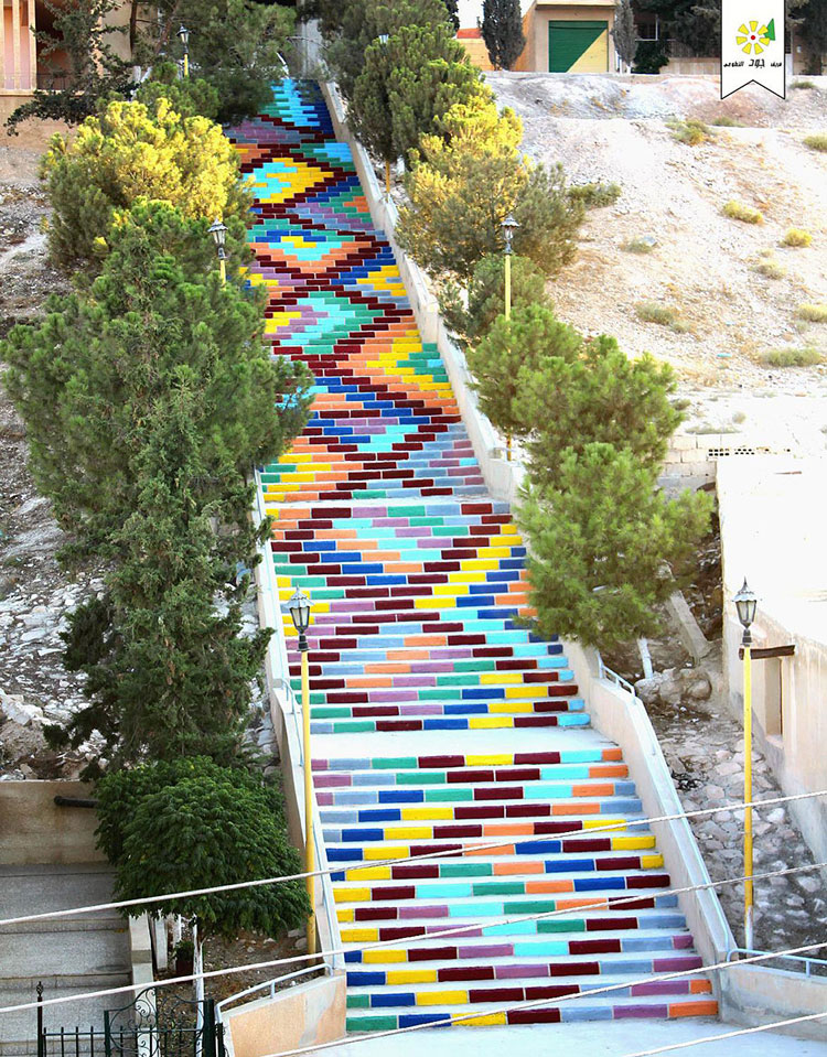 Foto della scalinata della pace realizzata in Siria