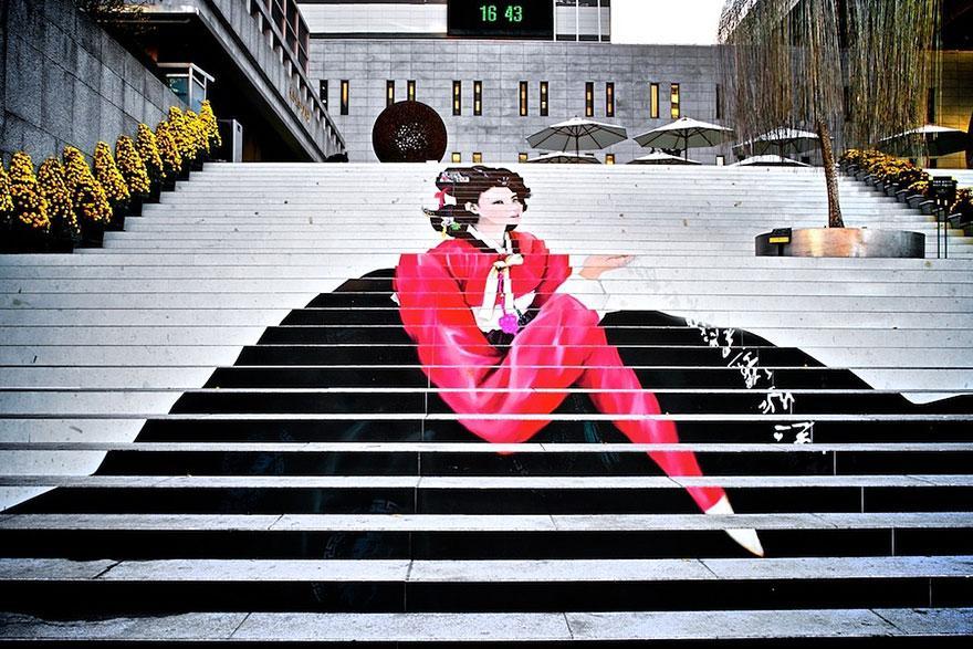Foto della scalinata del Musical Theater di Seoul