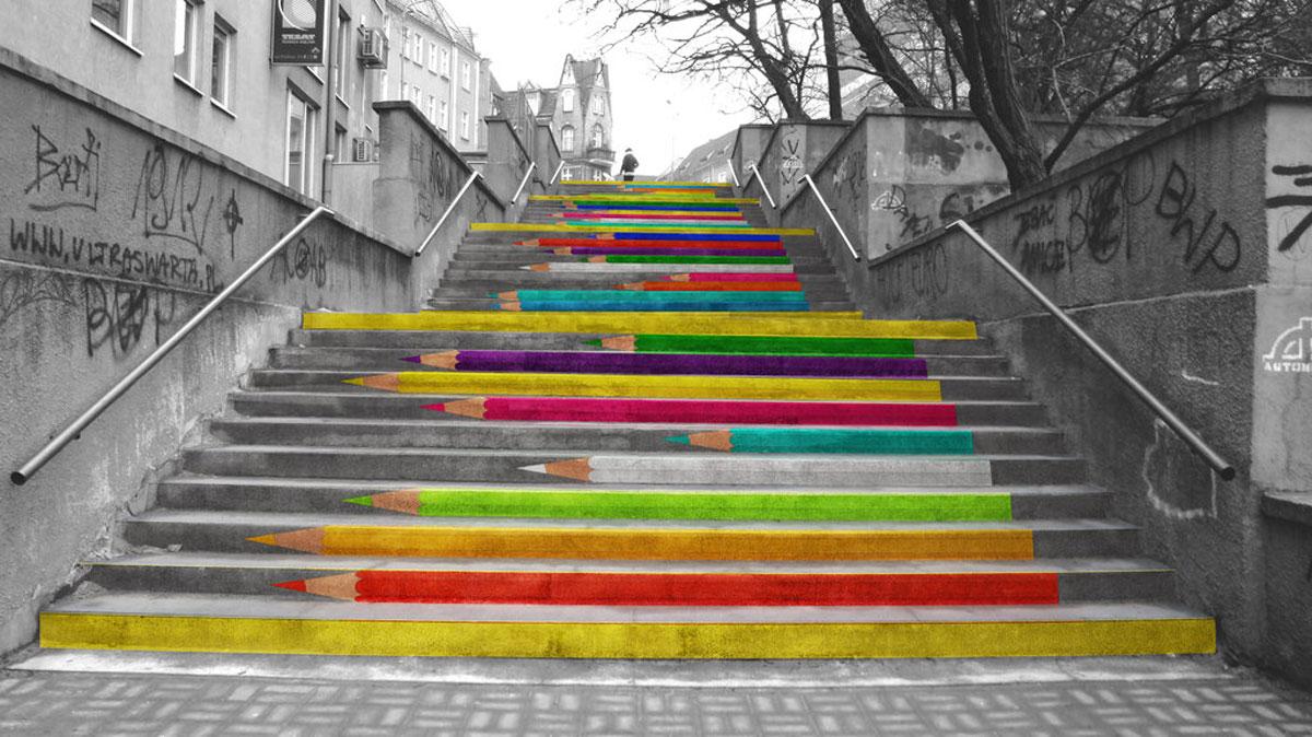 Foto della scalinata decorata di Noriaki in Polonia