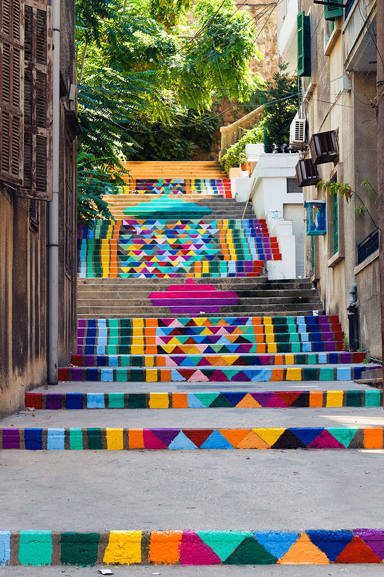 Foto della scalinata Street Art a Beirut