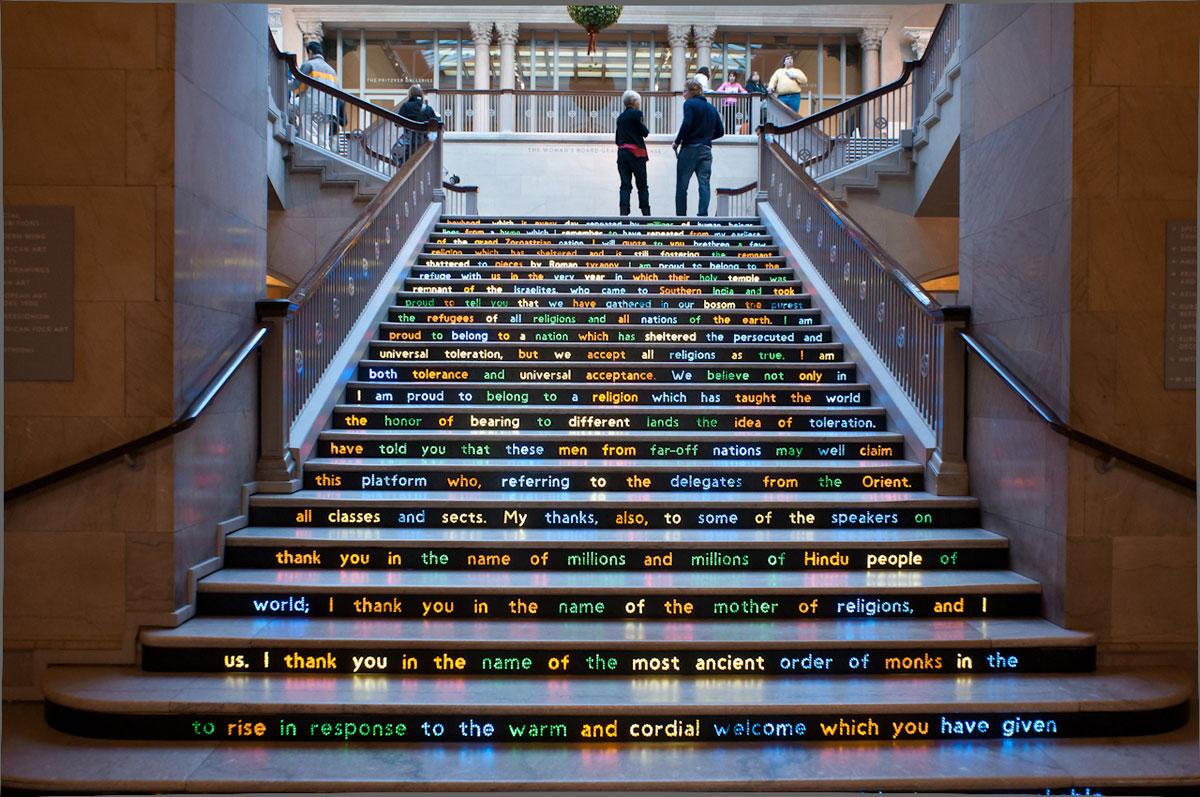 Foto della scalinata decorata dell'Art Institute Of Chicago