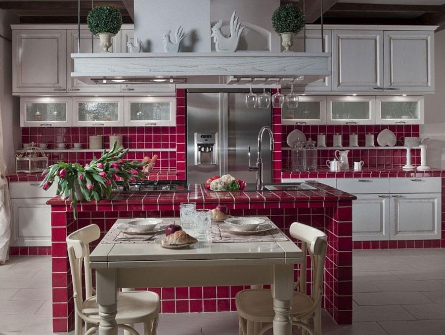 Foto della cucina in muratura moderna n.06