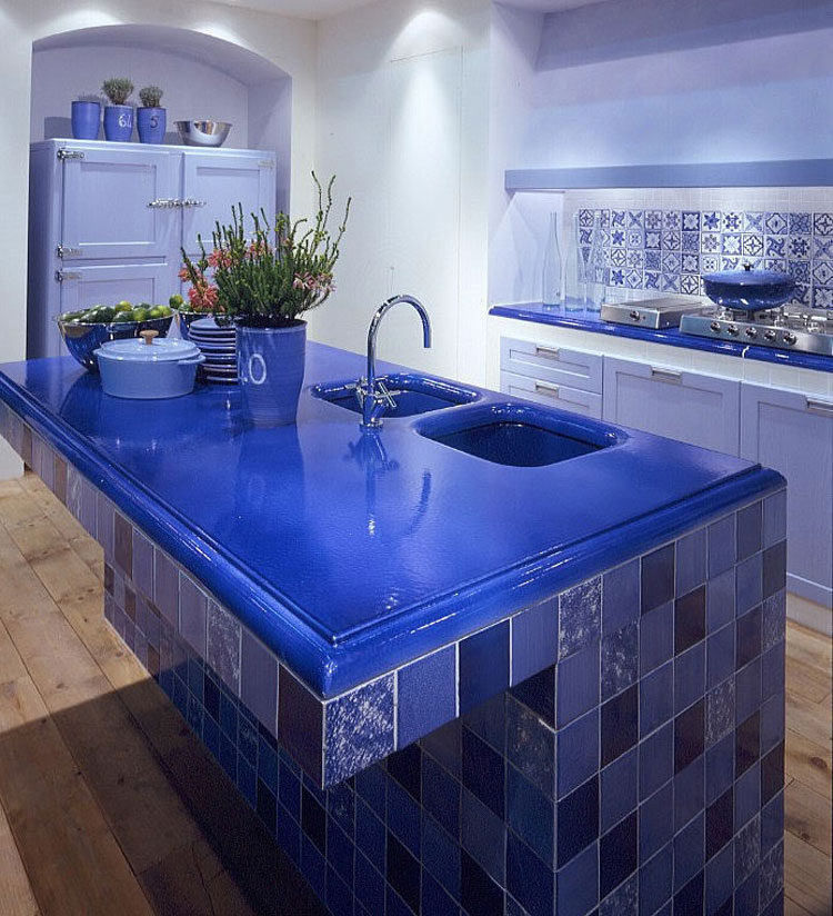 Foto della cucina in muratura moderna n.10