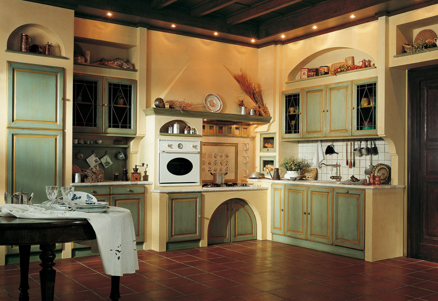 Foto della cucina in muratura moderna n.17