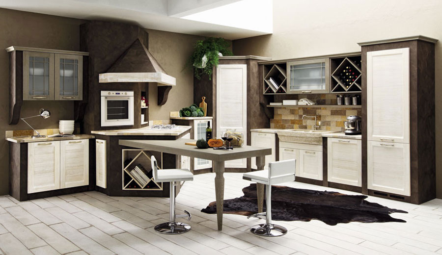 Foto della cucina in muratura moderna n.27
