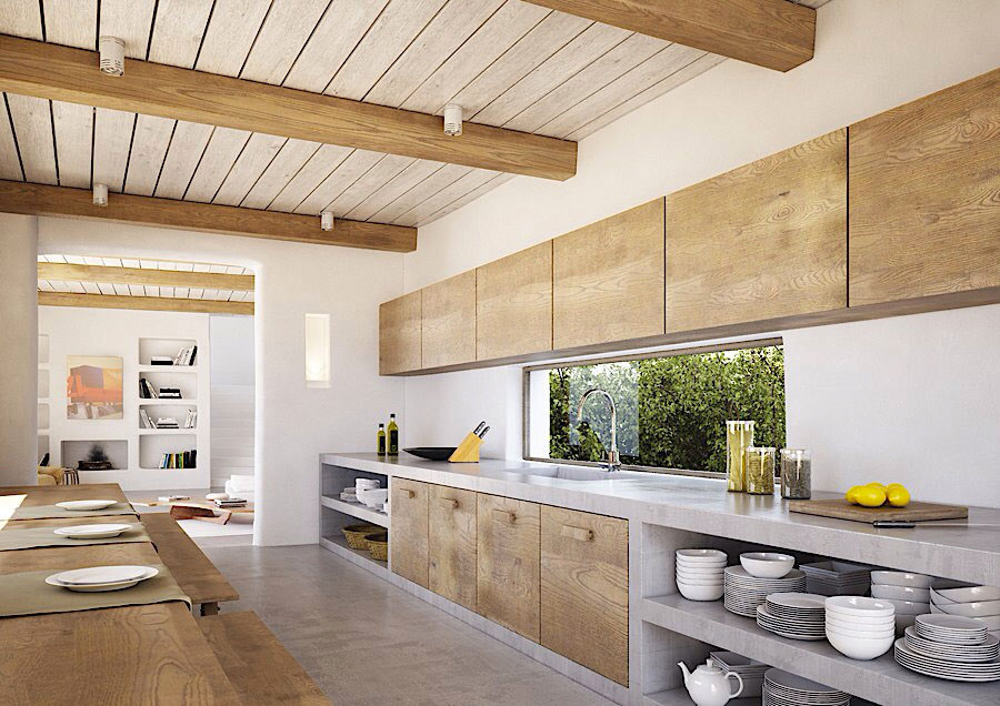 Foto della cucina in muratura moderna n.48