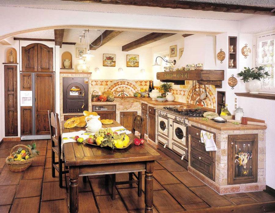 30 cucine in muratura rustiche dal design classico for Disegni di case toscane