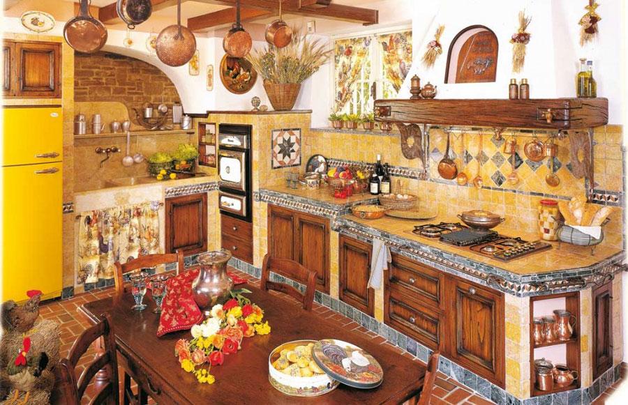 Modello di cucina in muratura rustica n.07