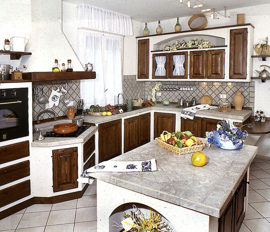 30 cucine in muratura rustiche dal design classico for Sportelli legno per cucina muratura