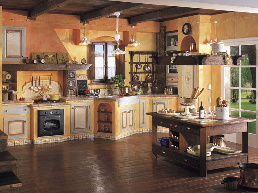 30 cucine in muratura rustiche dal design classico for Case antiche arredamento