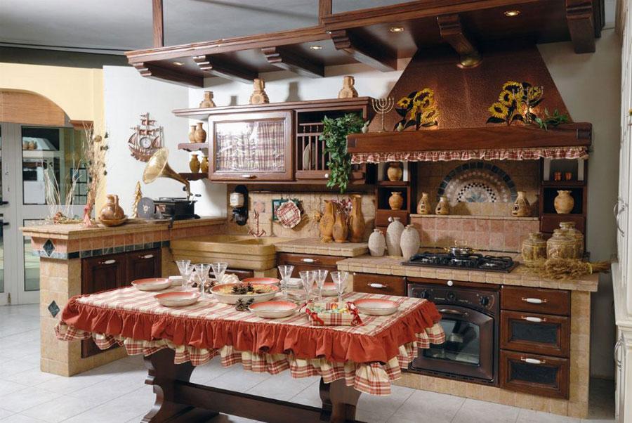 30 cucine in muratura rustiche dal design classico for Tendine per cucina rustica