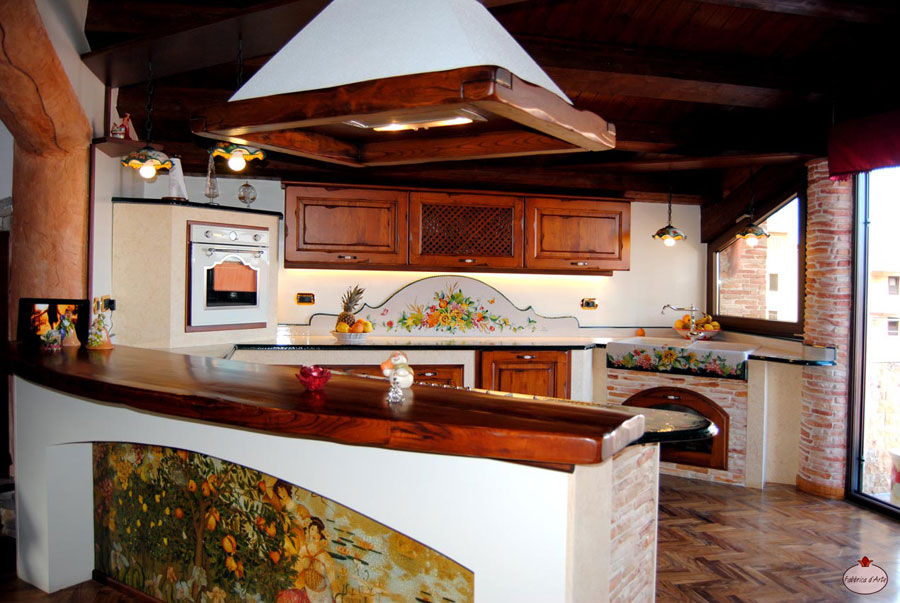 Modello di cucina in muratura rustica n.17