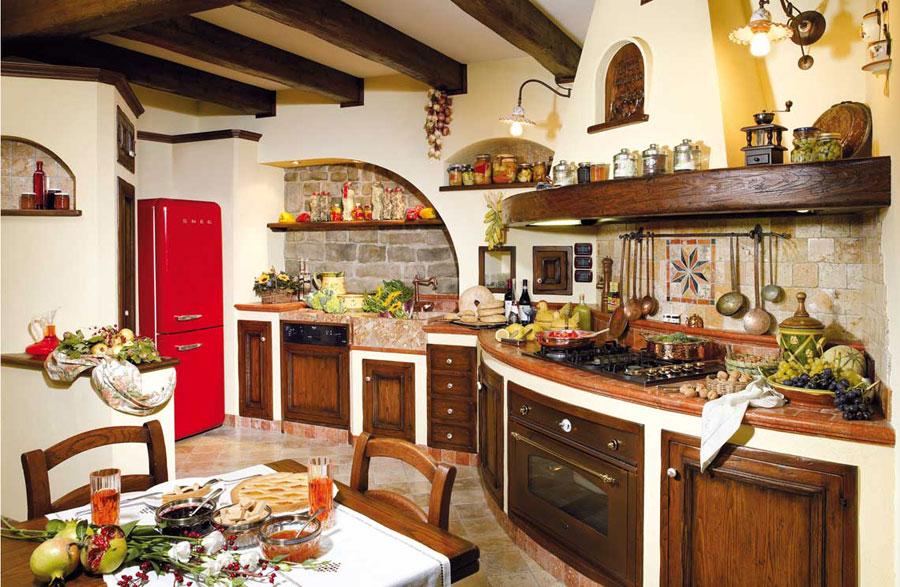 Modello di cucina in muratura rustica n.19
